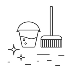 Cleaning tools bucket and mop line icons vector image