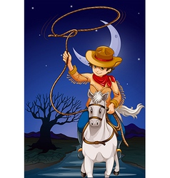 A cowboy holding a rope while riding a horse vector image