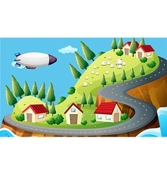 A spaceship and a village vector image
