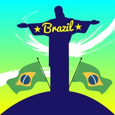 Abstract brazil design with statue and country vector