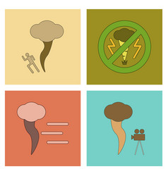 Assembly flat icons nature disaster tornado vector