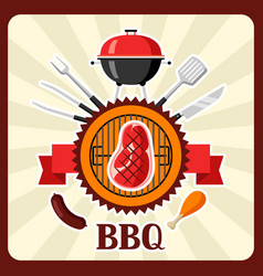 Bbq card with grill objects and icons vector