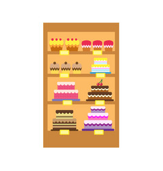Cakes store display vector