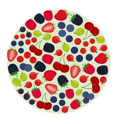 cartoon berries menu flat vegetarian food vector image vector image