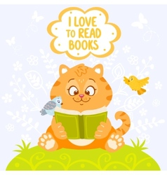 cat with book vector image vector image