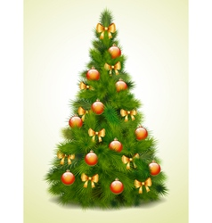 Christmas tree with balls and bows vector image vector image