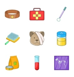 Clinic for pets icons set cartoon style vector image vector image