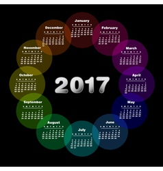 Colorful calendar for 2017 vector image vector image