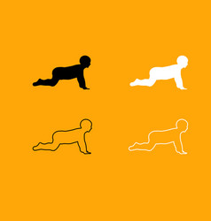 crawling baby black and white set icon vector image