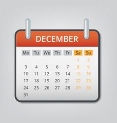 december 2018 calendar concept background cartoon vector image