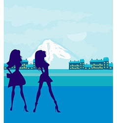 fashion silhouettes girls Shopping in the city vector image vector image