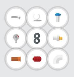 Flat icon sanitary set of cast plastic pressure vector