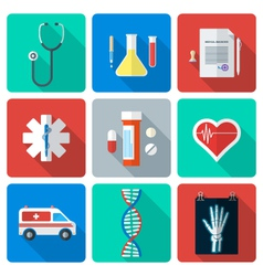 flat style medical icons set vector image