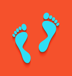 Foot prints sign whitish icon on brick vector