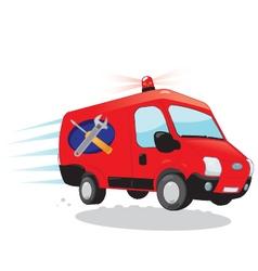 Funny handyman van - express assistance concept vector
