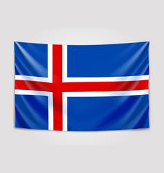 Hanging flag of iceland kingdom of iceland vector