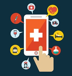 Health application on a smartphone open with hand vector