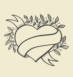 Heart banner hand drawn style vector