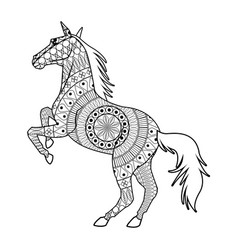 Horse on two legs - mandala decoration animal vector