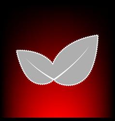 leaf sign postage stamp or old photo vector image