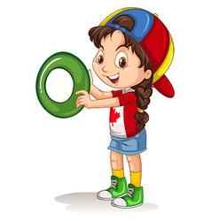 Little girl holding letter O vector image vector image