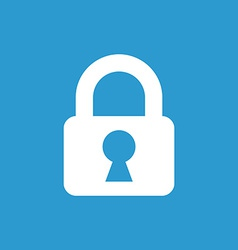 lock icon white on the blue background vector image vector image