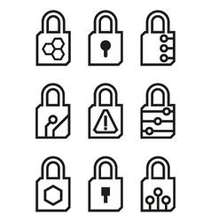 Locks Icons on white background vector image