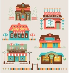 Markets buildings and urban elements set vector