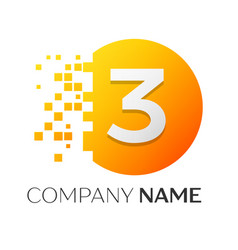 number three logo symbol in colorful circle vector image