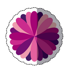 purple flower with petals icon vector image vector image