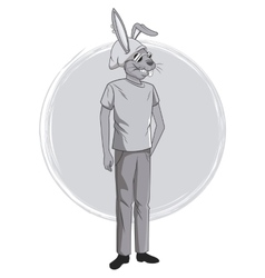 Rabbit fashion animal hipster white and grey vector