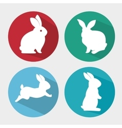 set cartoon icon rabbit design isolated vector image
