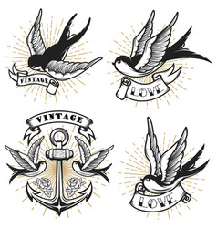 Set of vintage style tattoo with swallow birds vector