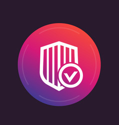Shield with check mark secure security icon vector