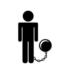 Slave with fetter isolated icon design vector