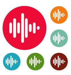sound wave icons circle set vector image