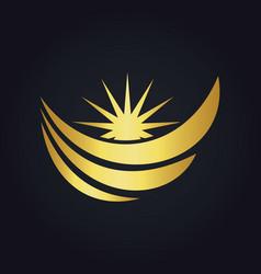 Water wave loop sun abstract gold logo vector