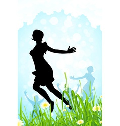 Nature background with girl silhouettes vector