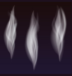 Set of delicate white cigarette smoke waves on vector