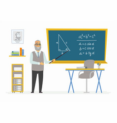 Geometry classroom - male teacher composition at vector