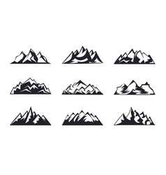 set mountains peaks ski logo design elements icon vector image