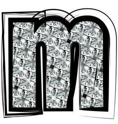 Diamond Font letter m vector image