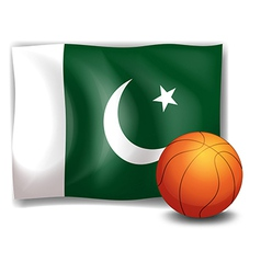 The flag of pakistan at the back of a ball vector