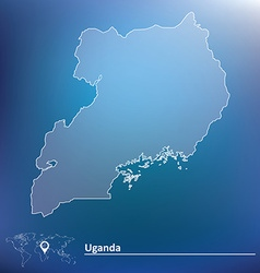 Map of uganda vector