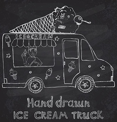 Hand drawn sketch ice cream truck with yang man vector