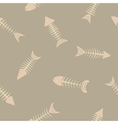 Seamless background with fish skeletons vector