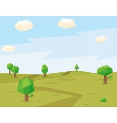 Green fields polygonal background vector