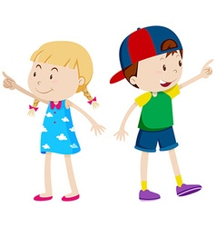 Girl pointing left and boy pointing right vector