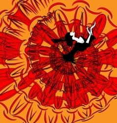 image of dancer in black-red vector image