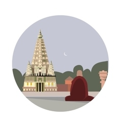 Temple of mahabodhi icon vector
